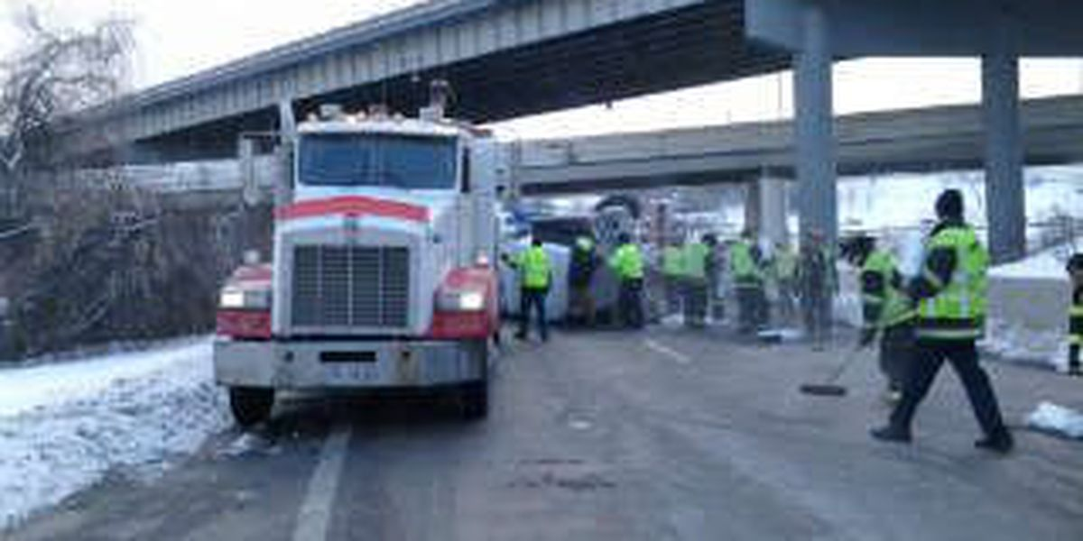 Semi accident causes highway back up