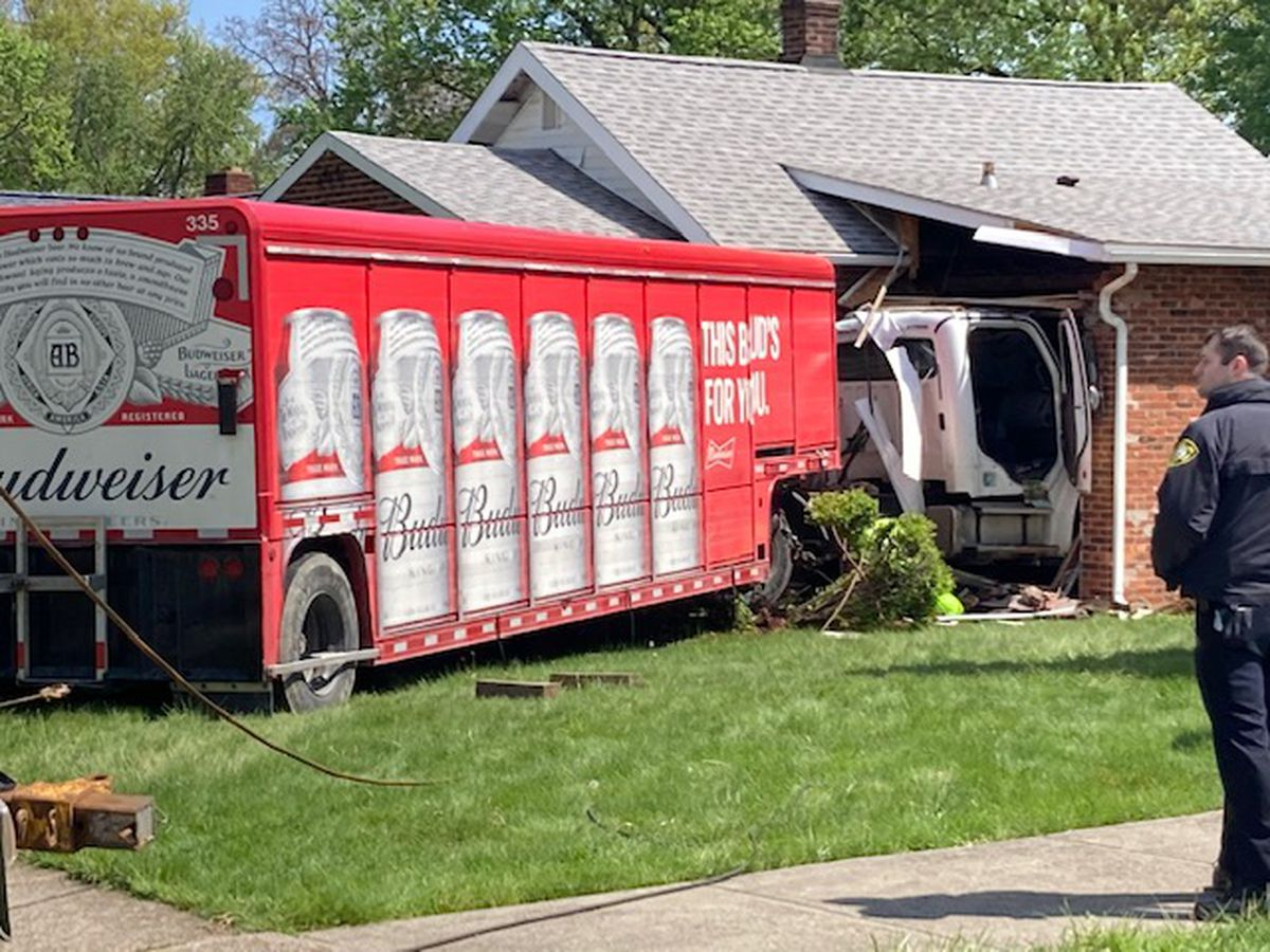 Beer truck crashes into Avon Lake house