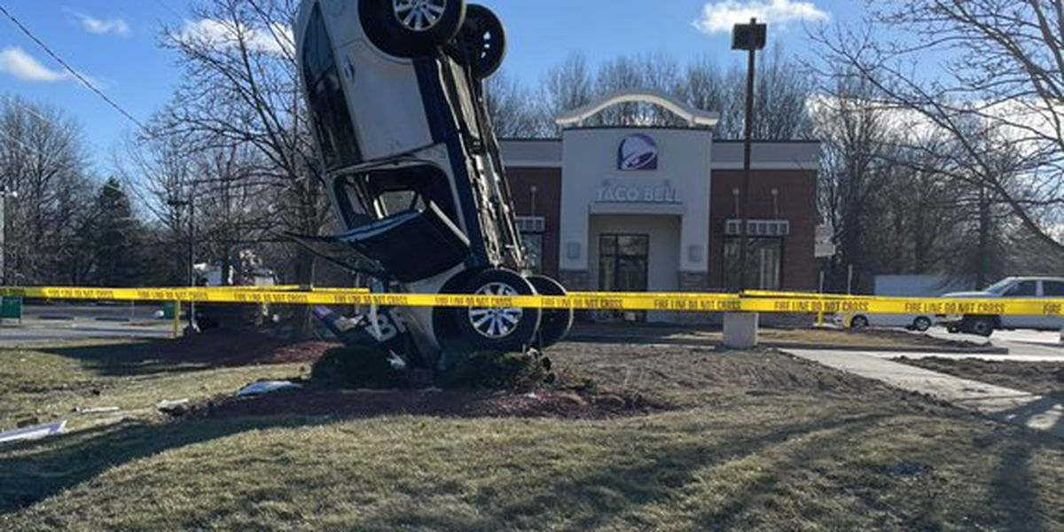 Crash near Taco Bell in Westlake leaves car standing straight up