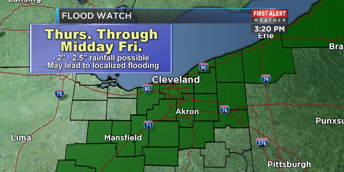 Over 2 inches of rain possible for much of Northeast Ohio; flood watch issued