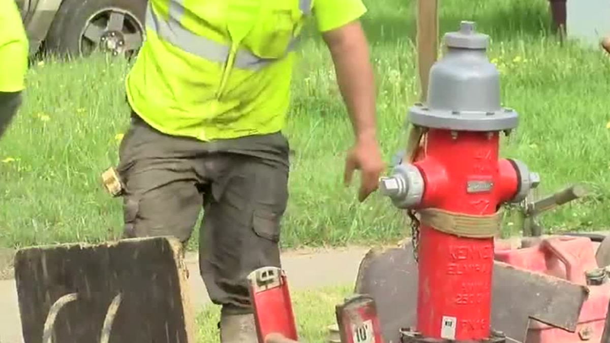 Cleveland Water Department corrects comical problem of hydrant blocking sidewalk