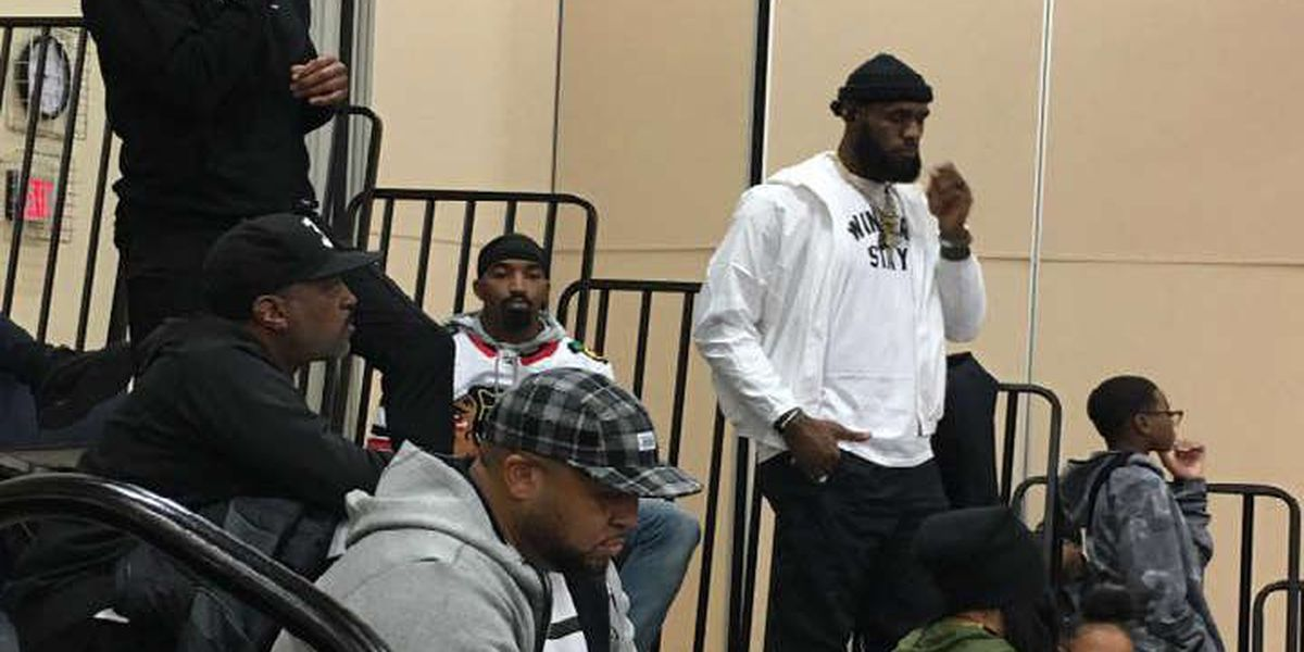 LeBron James, D-Wade, JR Smith take in a Garfield Heights basketball game on their night off
