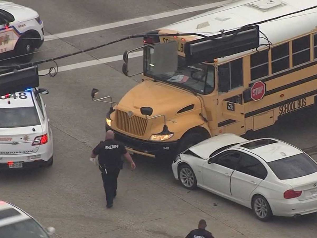 Driver crashes into TX school bus after getting shot in the leg