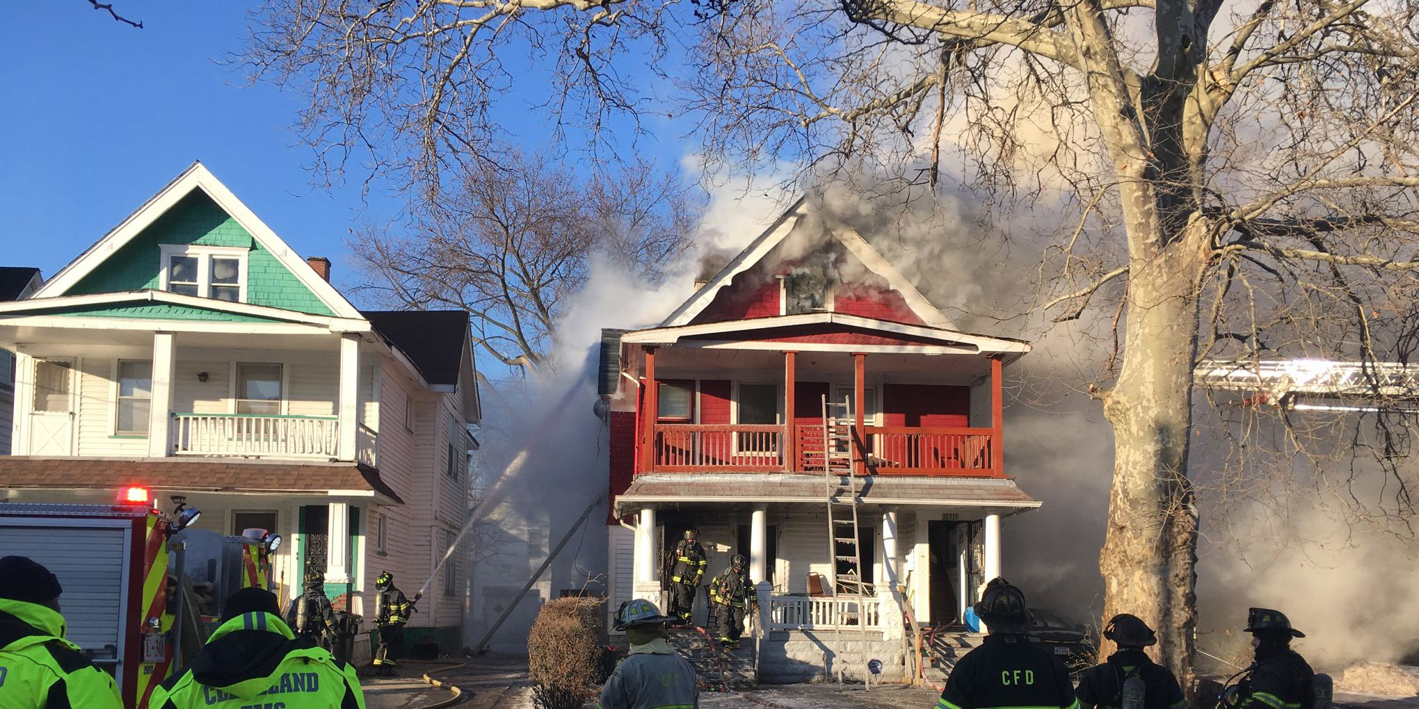 Cleveland firefighters rush to home engulfed in flames