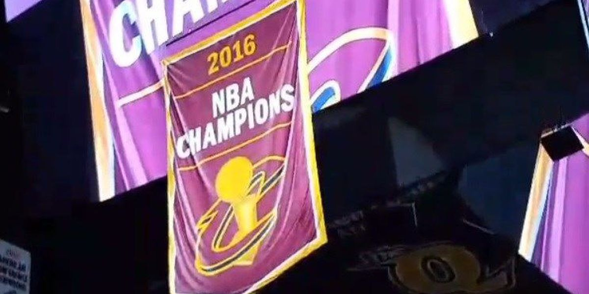 The Cavs' championship banner has been raised