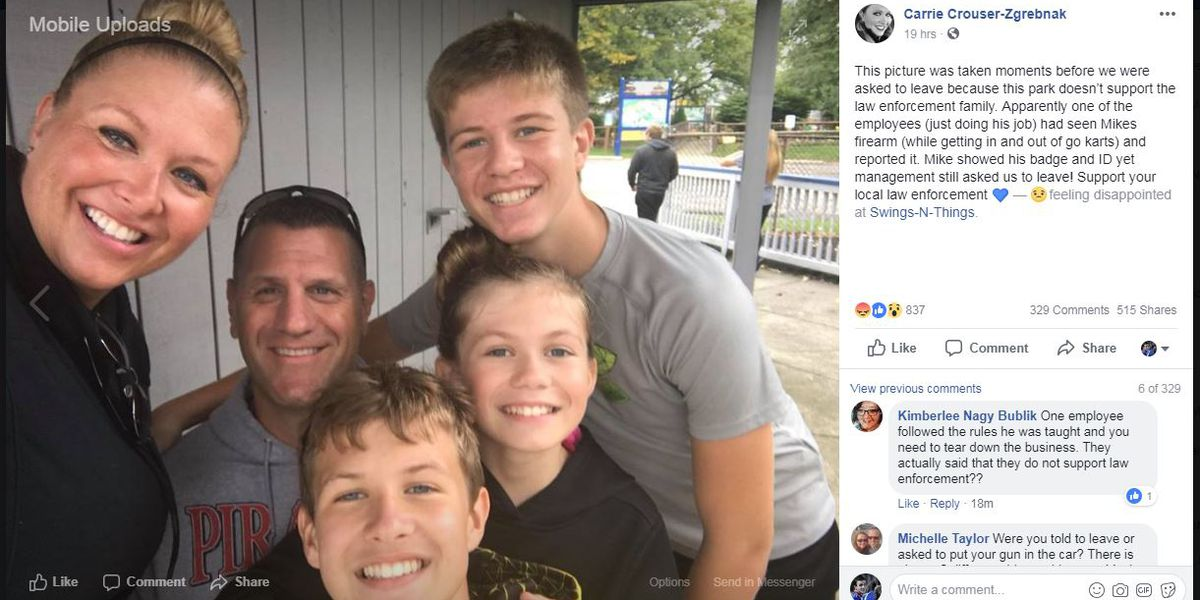 Lake County deputy's wife claims family was asked to leave fun park after being spotted carrying gun