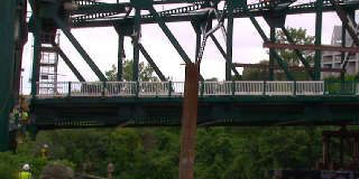 The Columbus Road lift bridge was put into place over the Cuyahoga River