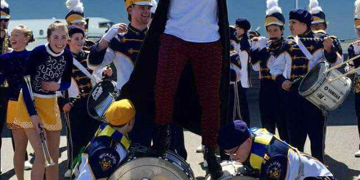 Mariska Hargitay from 'Law and Order' performs with Wickliffe High School's band