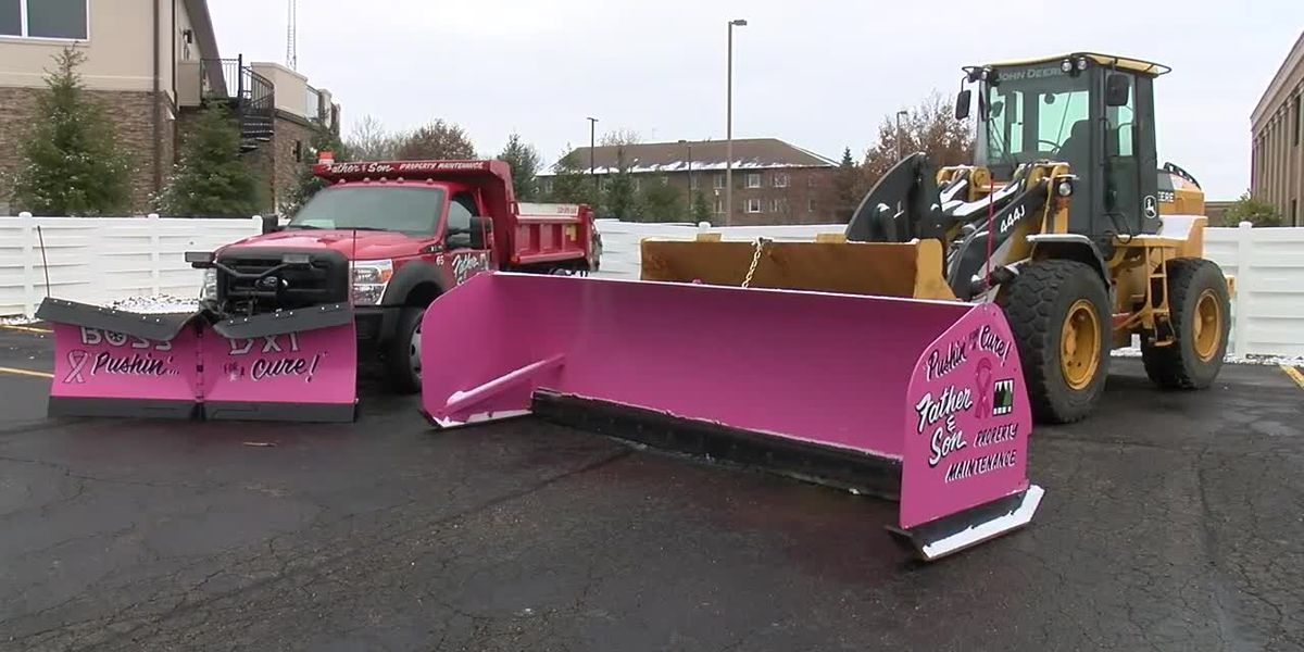 Father and son 'pushin' for a cure' with pink snow plows