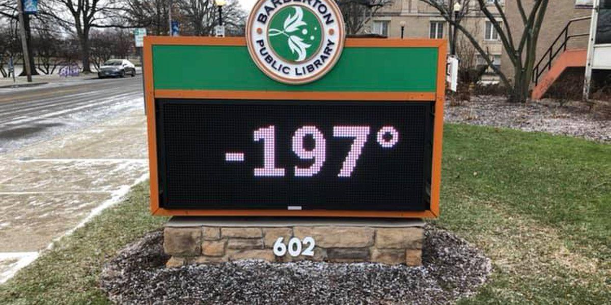 Barberton Public Library sign forecasts record -197 degree temperature