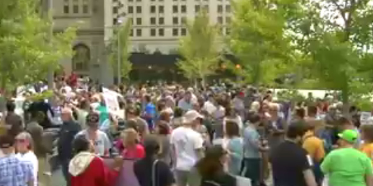 Anti-Trump group holds a rally in Cleveland after the violence in Charlottesville