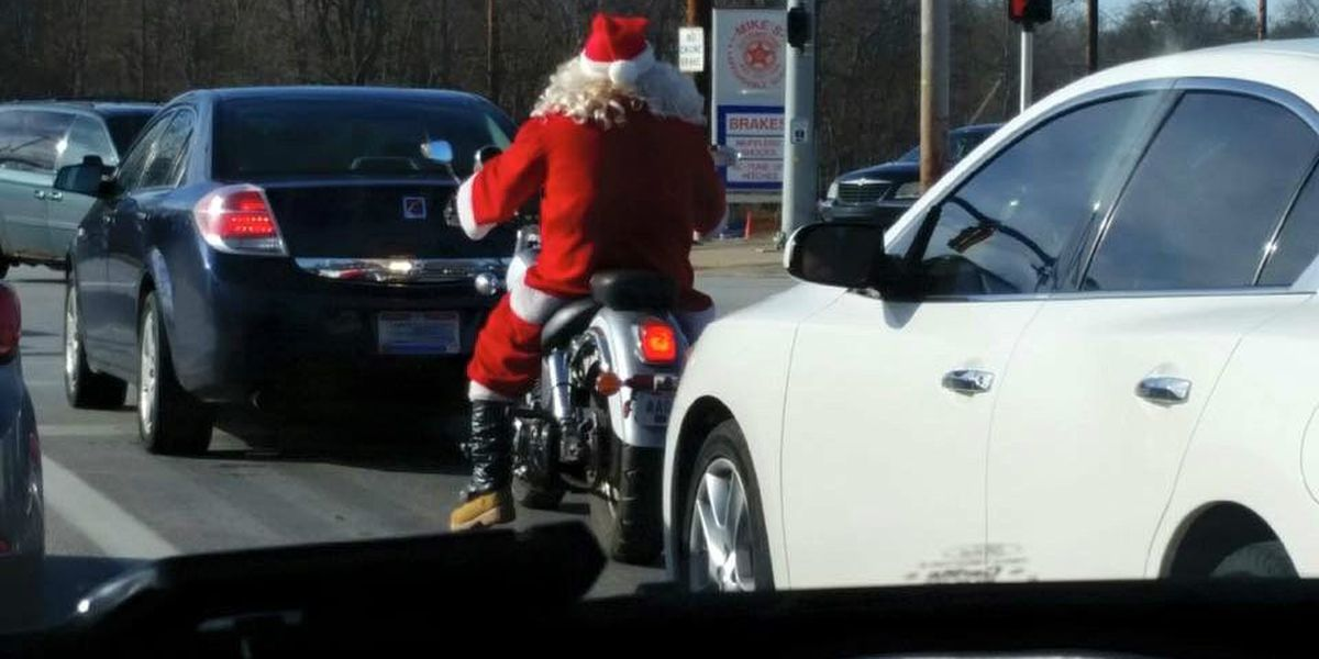 Motorcycle Santa! Another sign of warmer weather