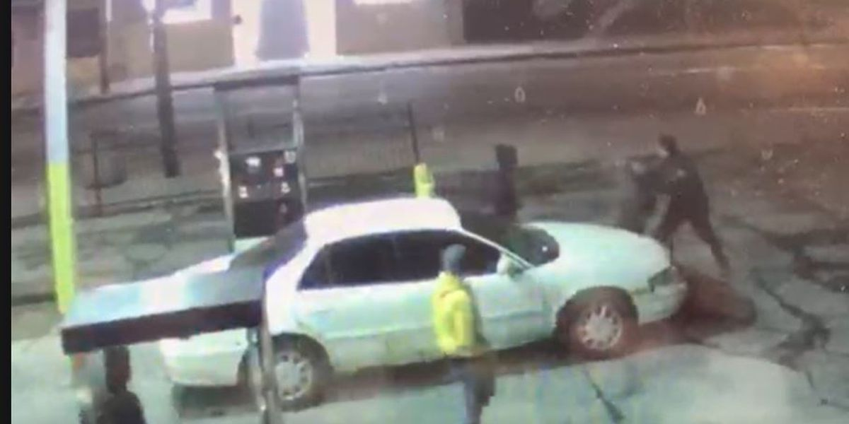 4 suspects wanted for punching man in head, carjacking him at Cleveland gas station