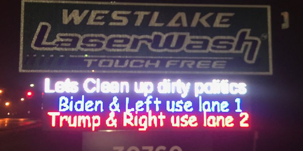 'Clean up dirty politics': Westlake car wash has fun with upcoming presidential election