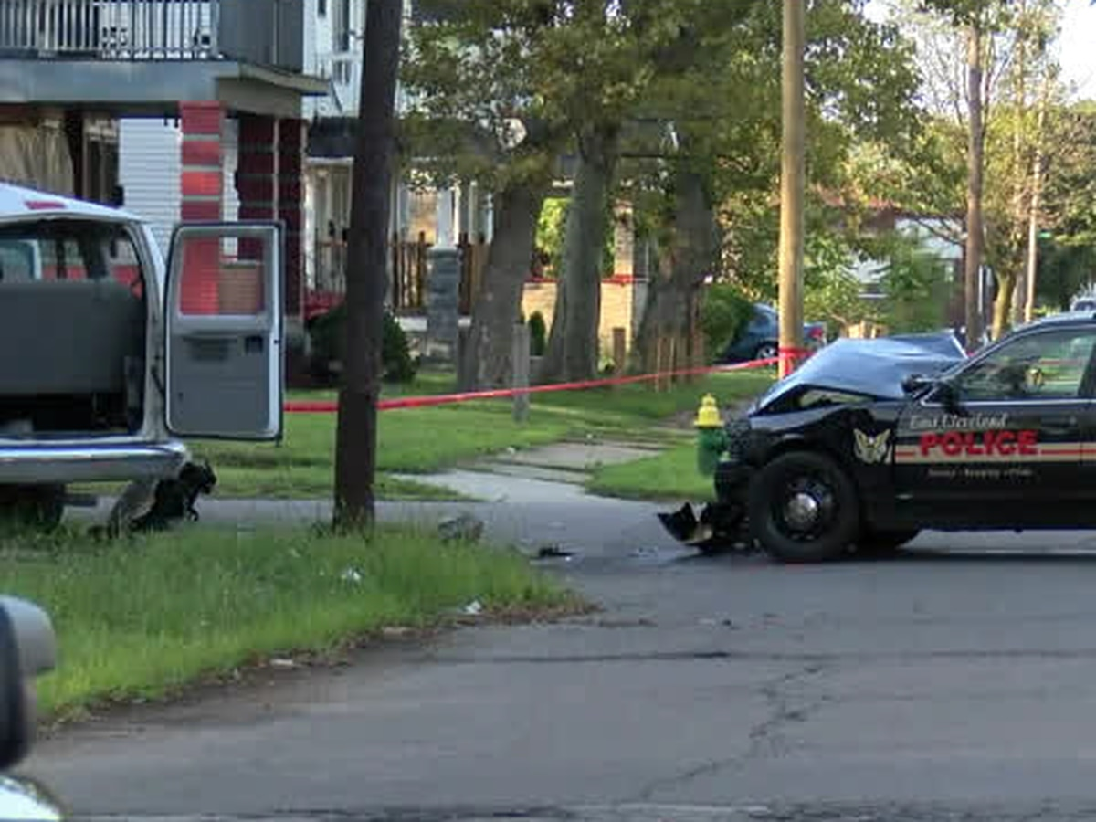 UPDATE: 2 adults, 3 children hospitalized after East Cleveland police cruiser crashes into church van