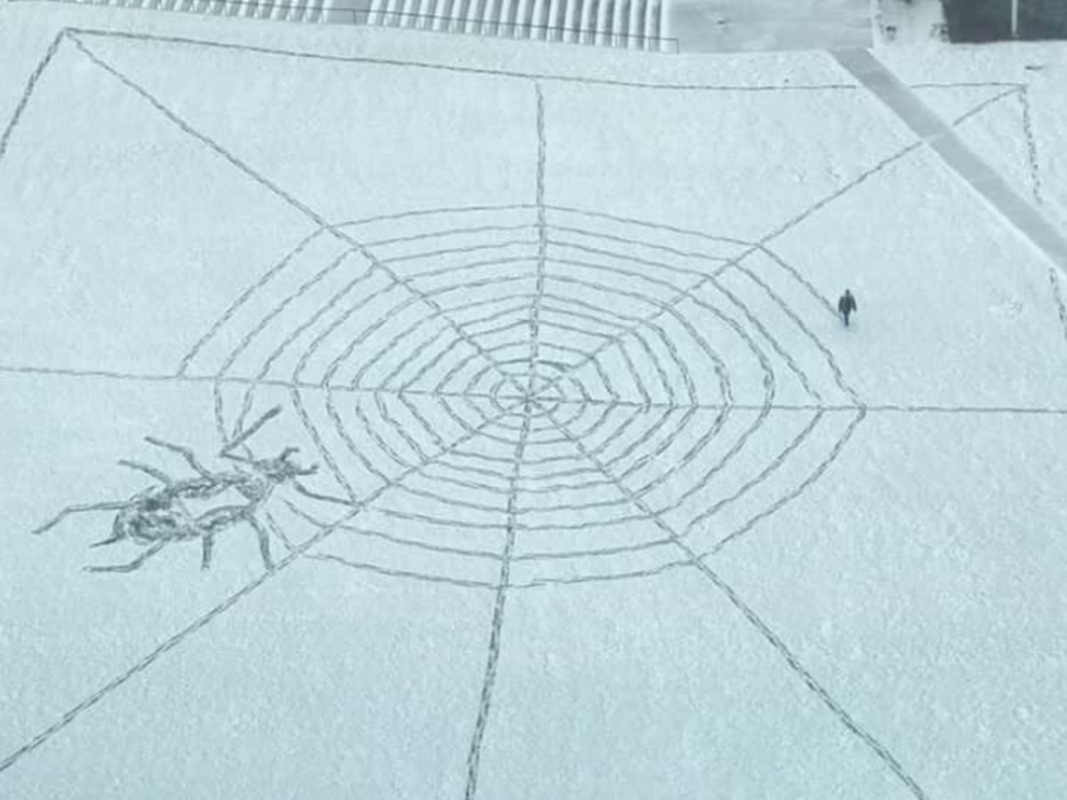 Mystery artist draws giant snow spider web in downtown Cleveland (video)