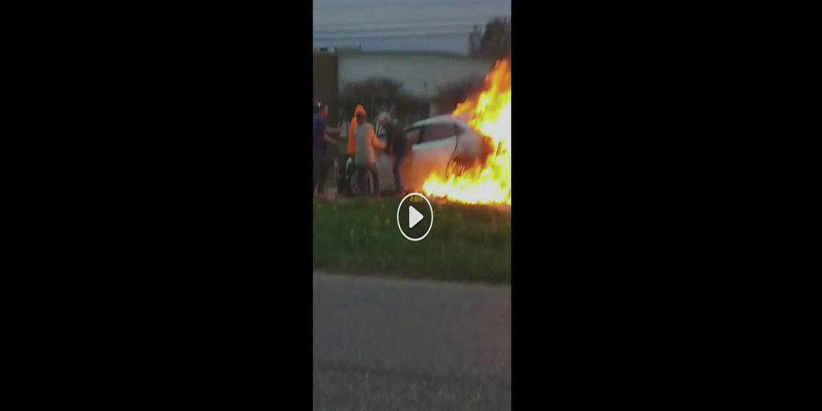 VIDEO: Heroic motorists rescue driver from car fire in St. John Parish