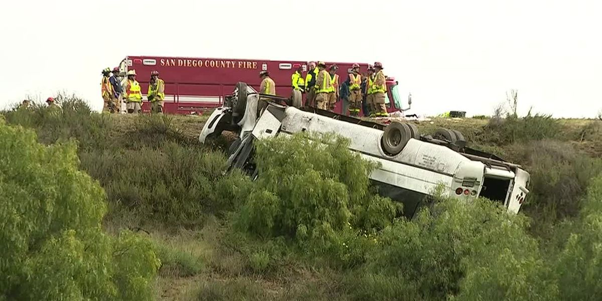 3 dead after tour bus rolls over several times on Calif. interstate
