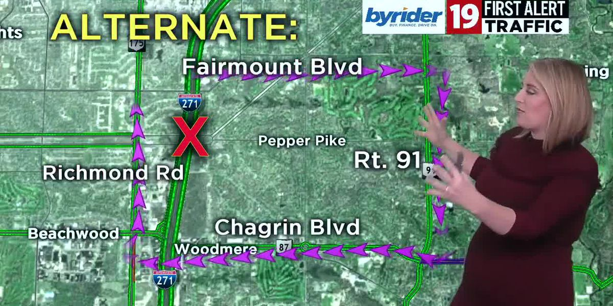 Detour for multiple road closures in Pepper Pike