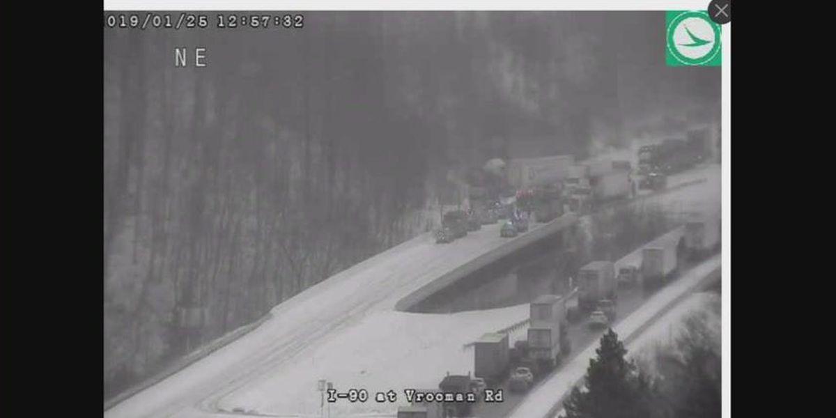Multi-vehicle crash, blinding winter conditions impact I-90