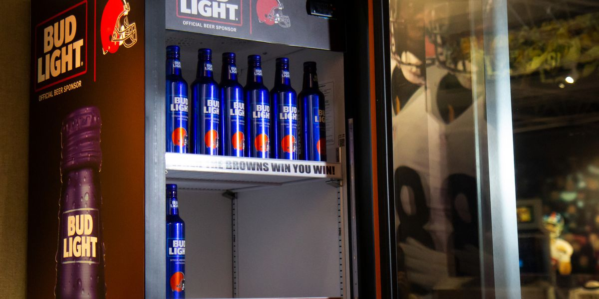 Cleveland Browns Bud Light Victory Fridge on display at Pro Football Hall of Fame