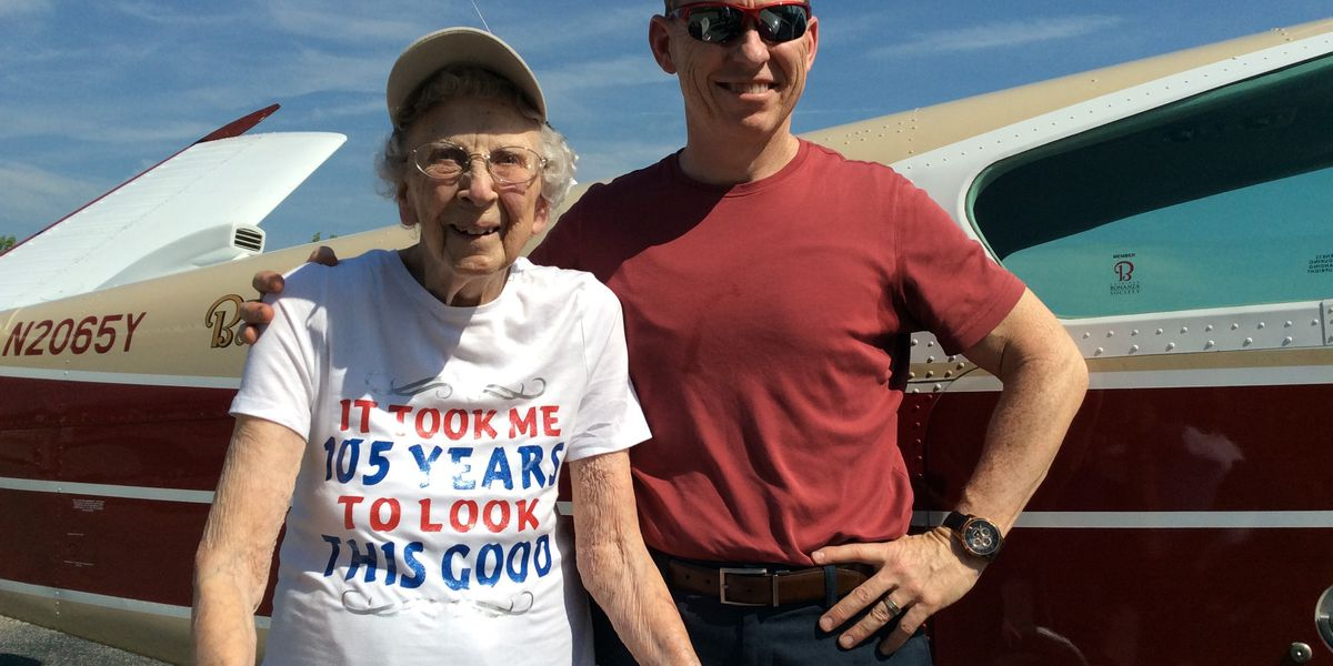 Ravenna woman celebrates 105th birthday with celebratory flight