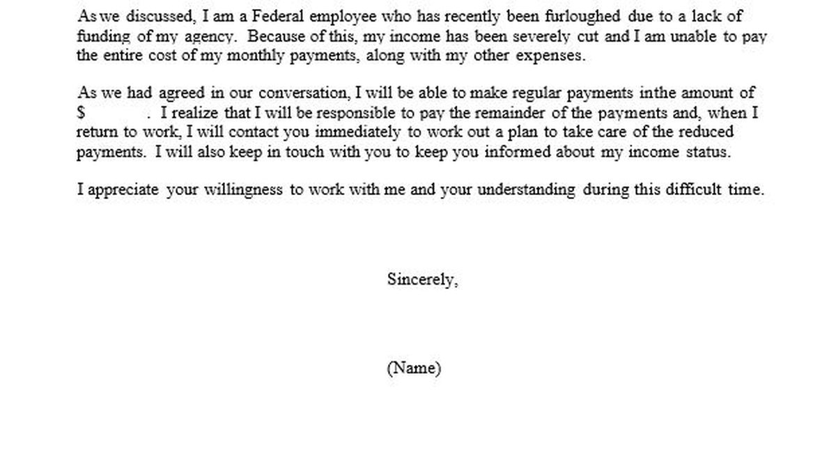 Feds provide furloughed workers form letters to ask mortgage and credit companies for a break