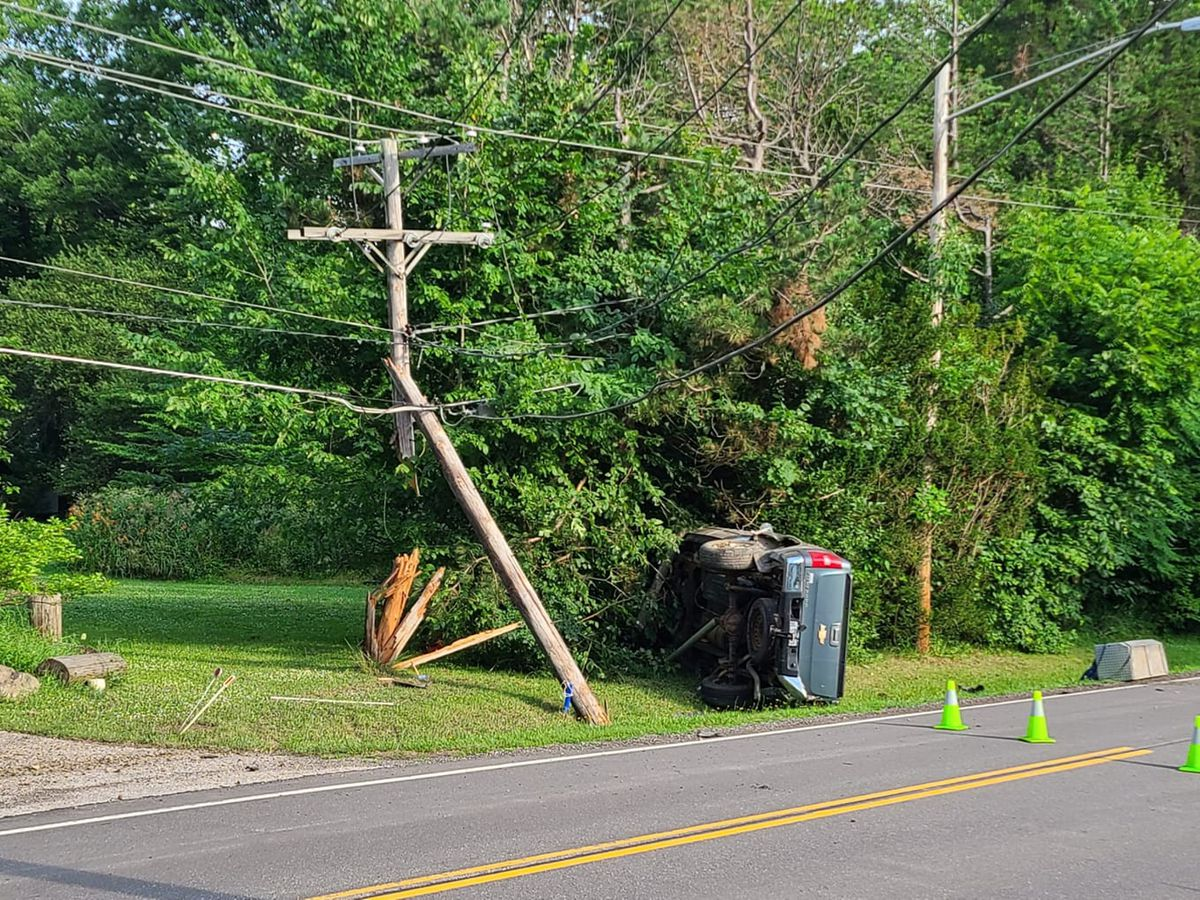 Truck snaps pole in crash, causing power outage and road closure in Bainbridge Township