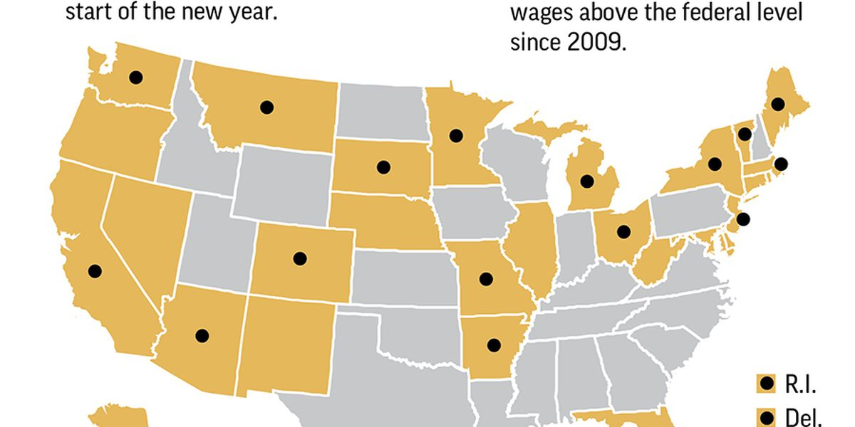 Minimum wage rising in 20 states and numerous cities