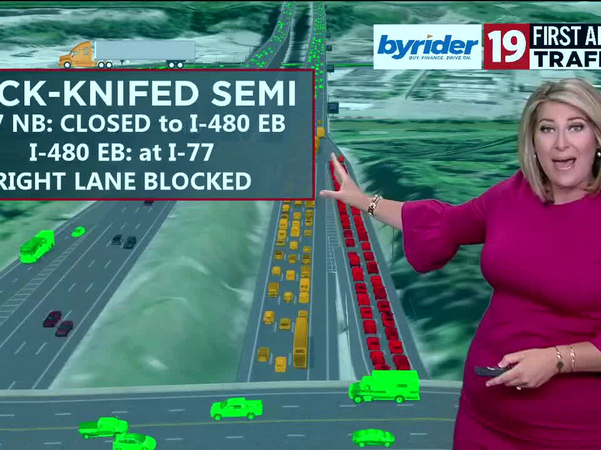 Commuter Cast: Ramp reopens after semi truck jack-knifes on I-77 northbound ramp to 480 eastbound