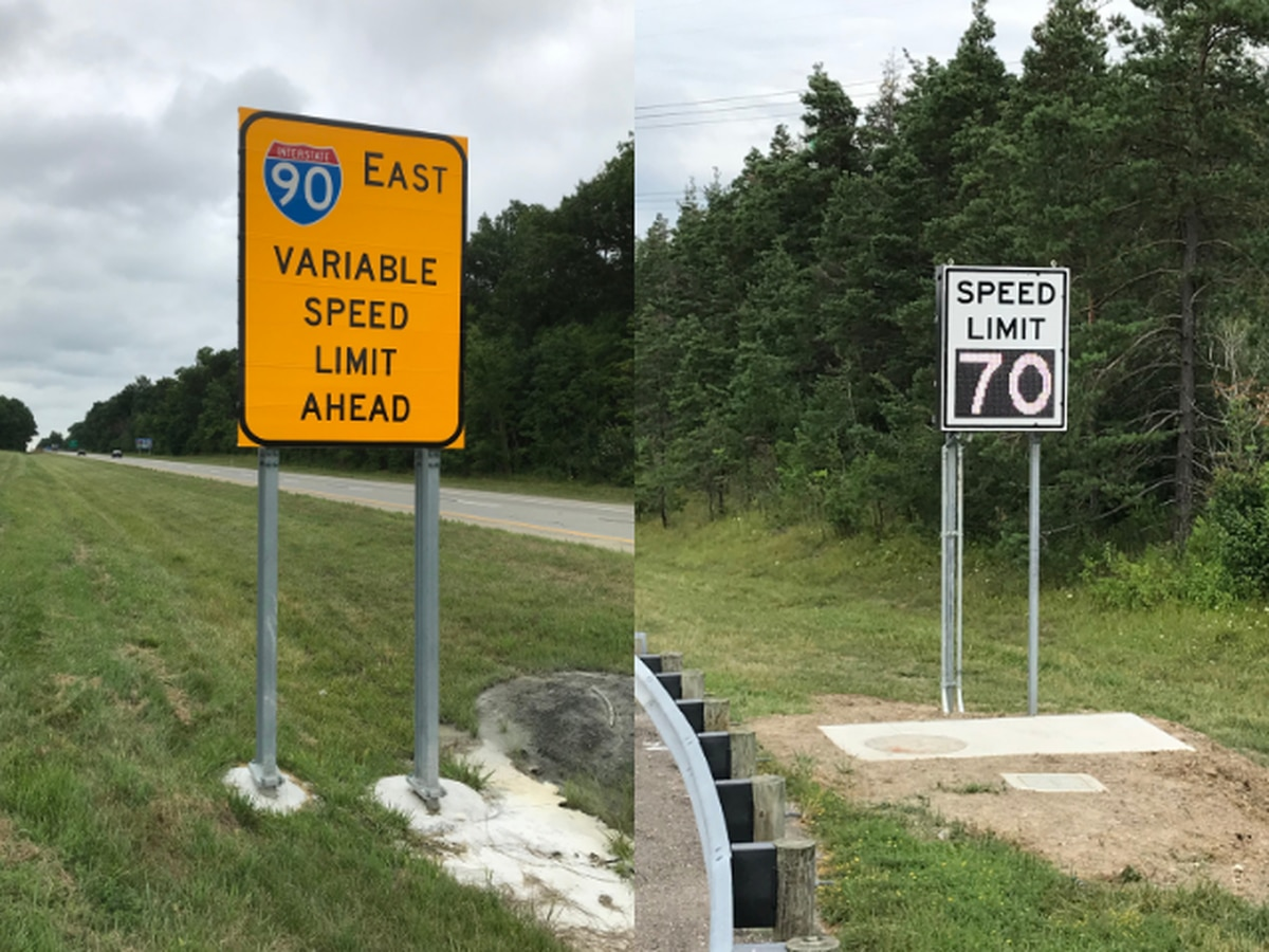 I-90 speed limit signs that adjust during winter weather now permanent in Lake County