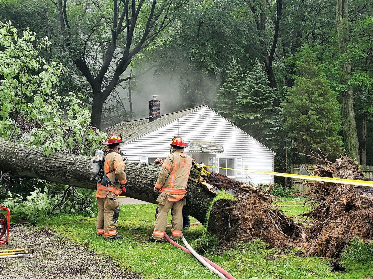 Massive tree in Stow tips over due to saturated ground; incoming rain will increase likelihood of more incidents