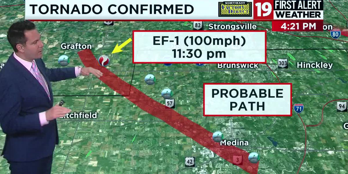NWS Cleveland confirms three tornadoes on Tuesday; EF-1 in Lorain and Medina counties, EF-0 in Stark County, EF-1 in Summit County