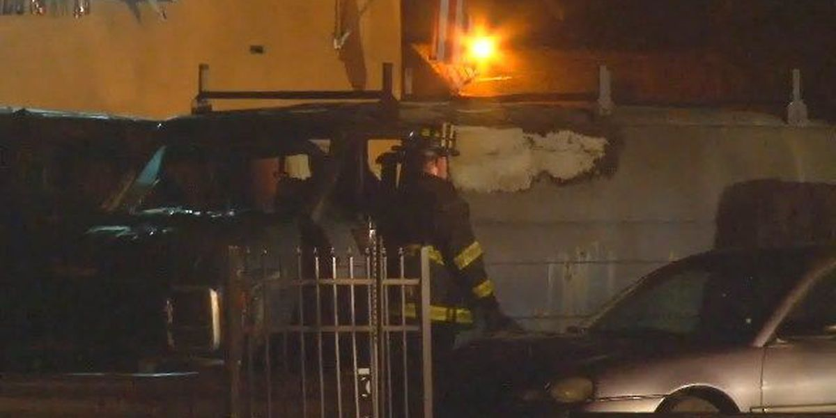 3 vans catch fire in Cleveland
