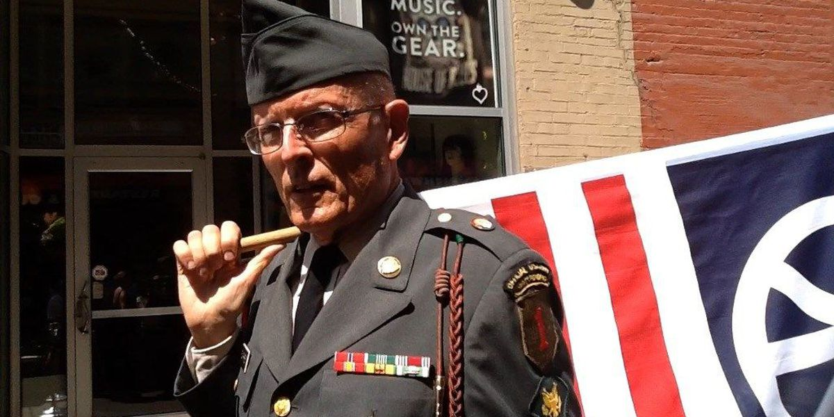 The story about the decorated veteran standing outside GOP Convention: RNC Profiles