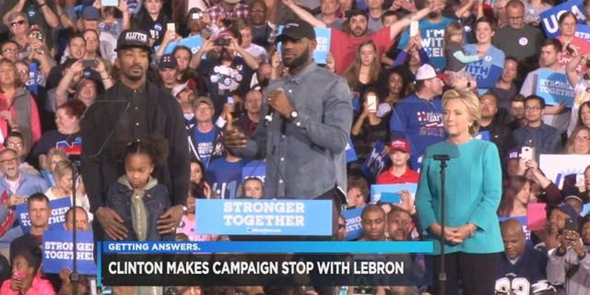 Lebron James, J.R. Smith rally for Clinton in Cleveland