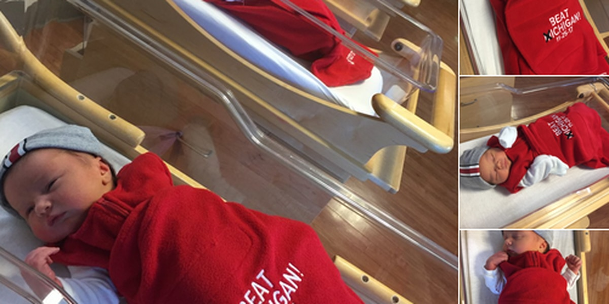 Adorable OSU newborns bundled and ready for the big game against Michigan