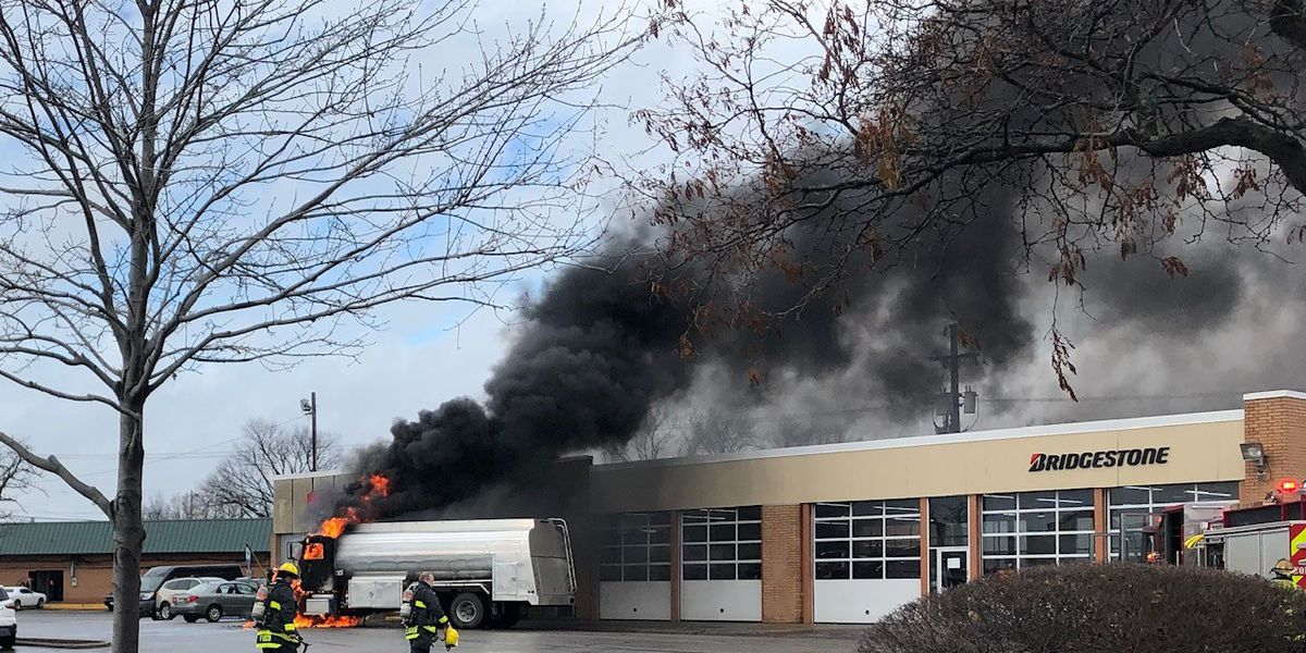 Oil truck erupts into flames in North Olmsted parking lot