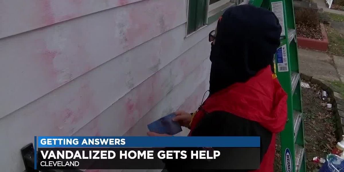 Volunteers help after woman's house was vandalized