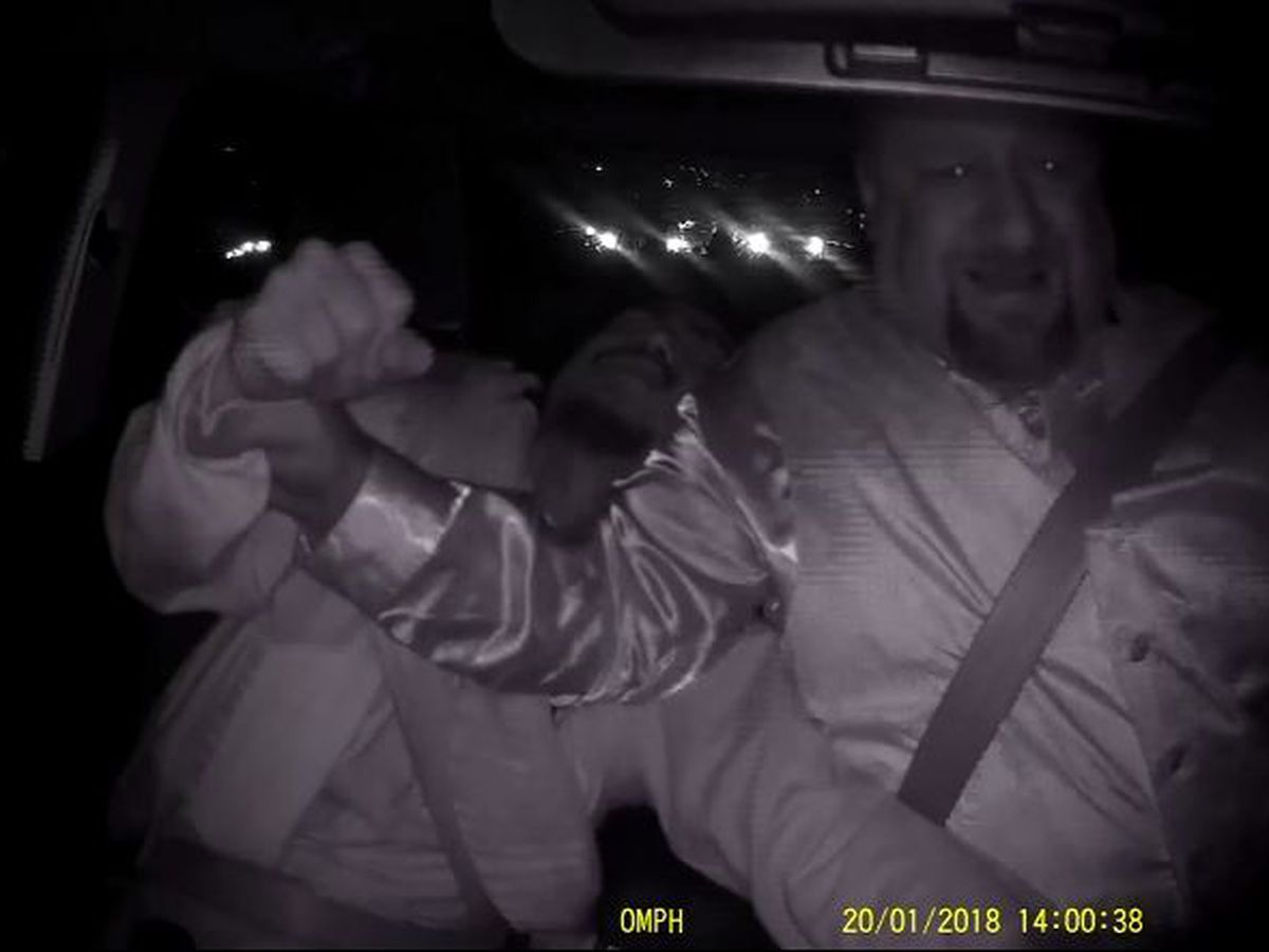 Uber driver says he almost died when a suspected drunken passenger grabbed the wheel