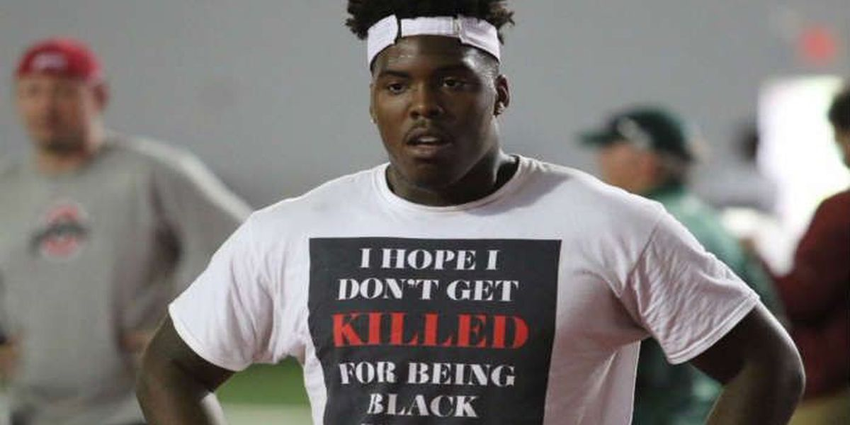 Ohio State recruit's tee says: 'I hope I don't get killed for being black today'