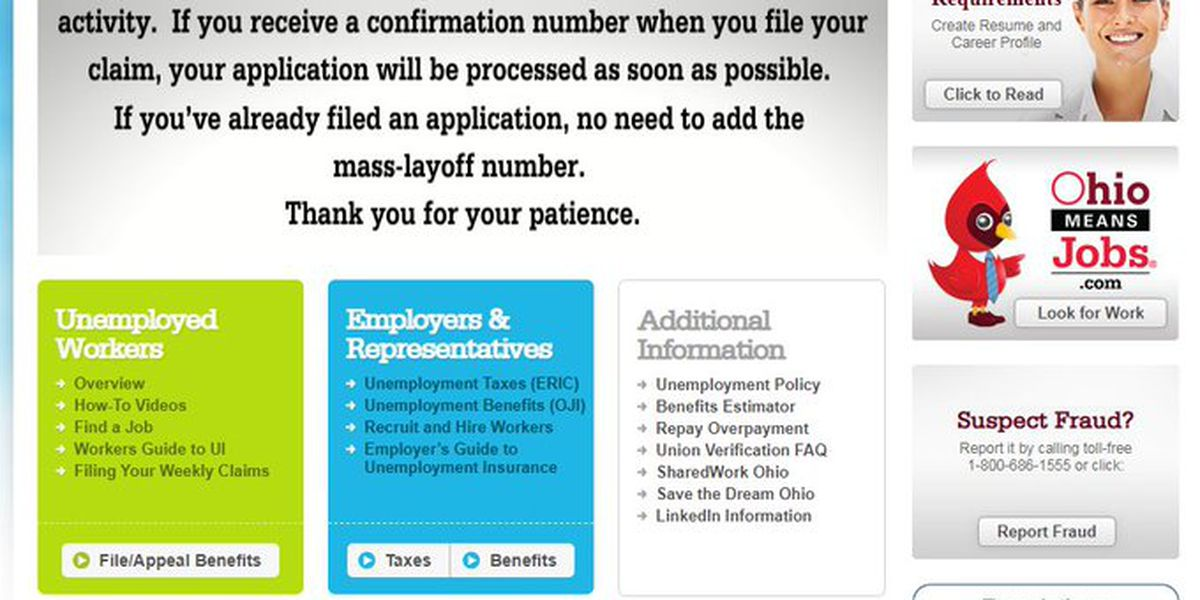 Website to file Ohio unemployment claims is down for 2nd day in a row during coronavirus pandemic