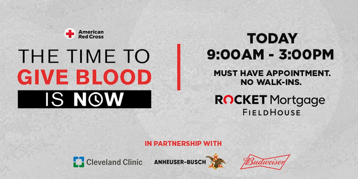 Red Cross needs donors for blood drive at Rocket Mortgage FieldHouse