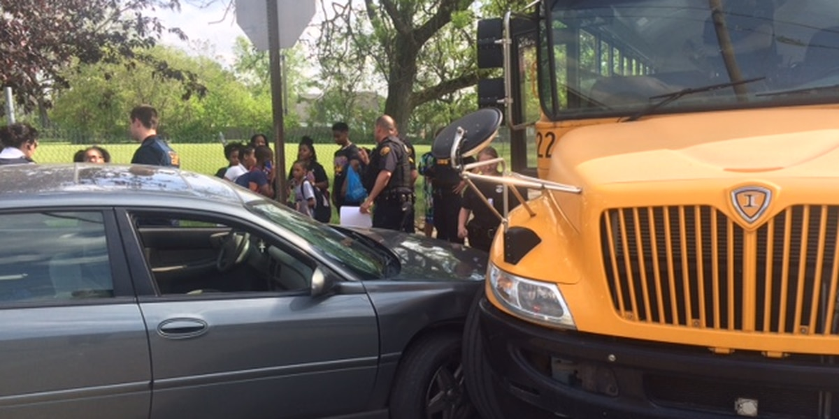 School bus struck by car in Cleveland