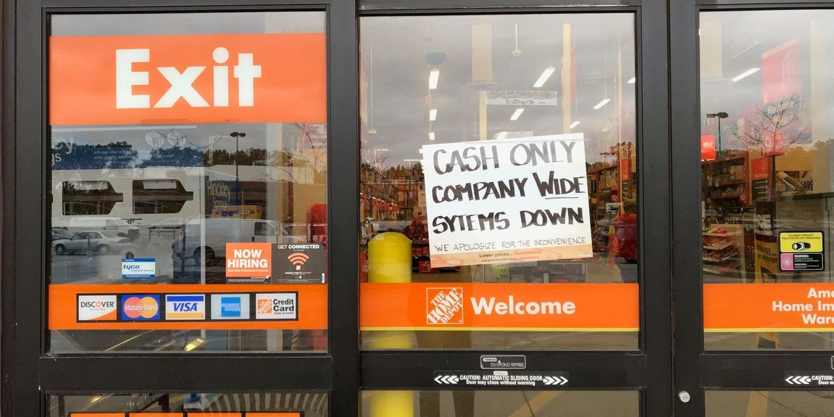 Customers must use cash at all Home Depot stores today, systems down