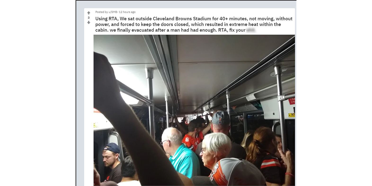 Browns fans were trapped on RTA trains hours after the game Sunday night