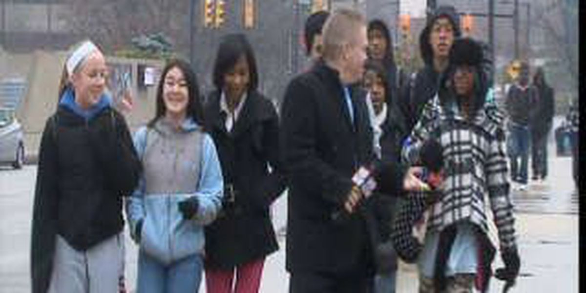 College students trek to class, despite the weather