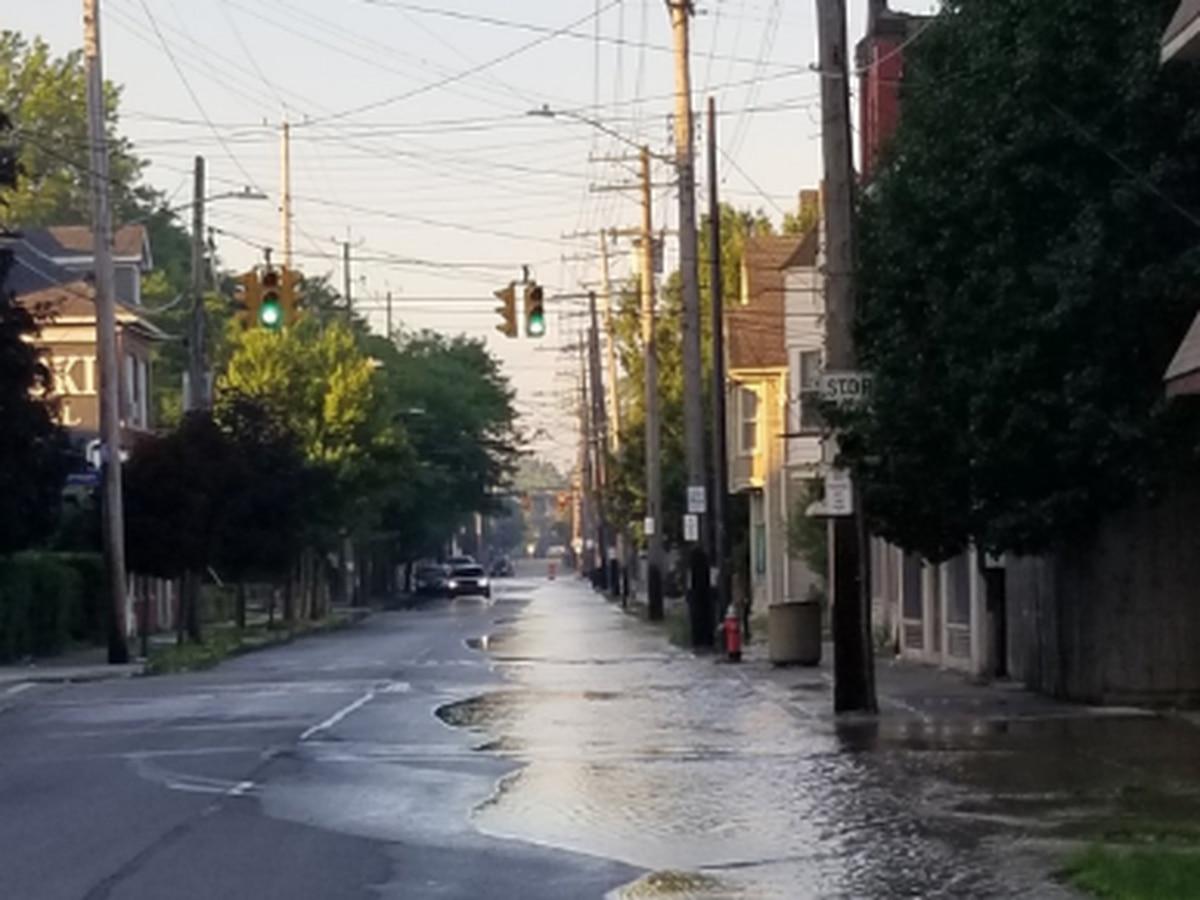 Crews working to repair water main break that flooded streets in Slavic Village