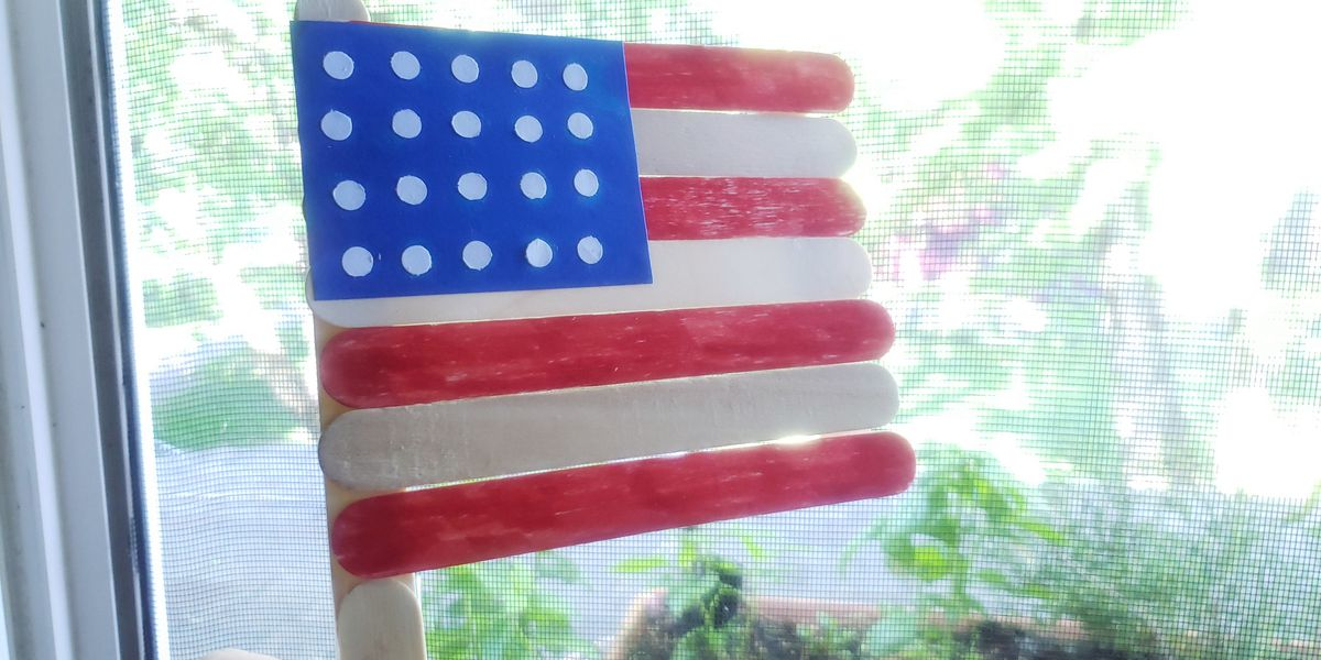 Family craft time! How to make a Popsicle Stick Flag