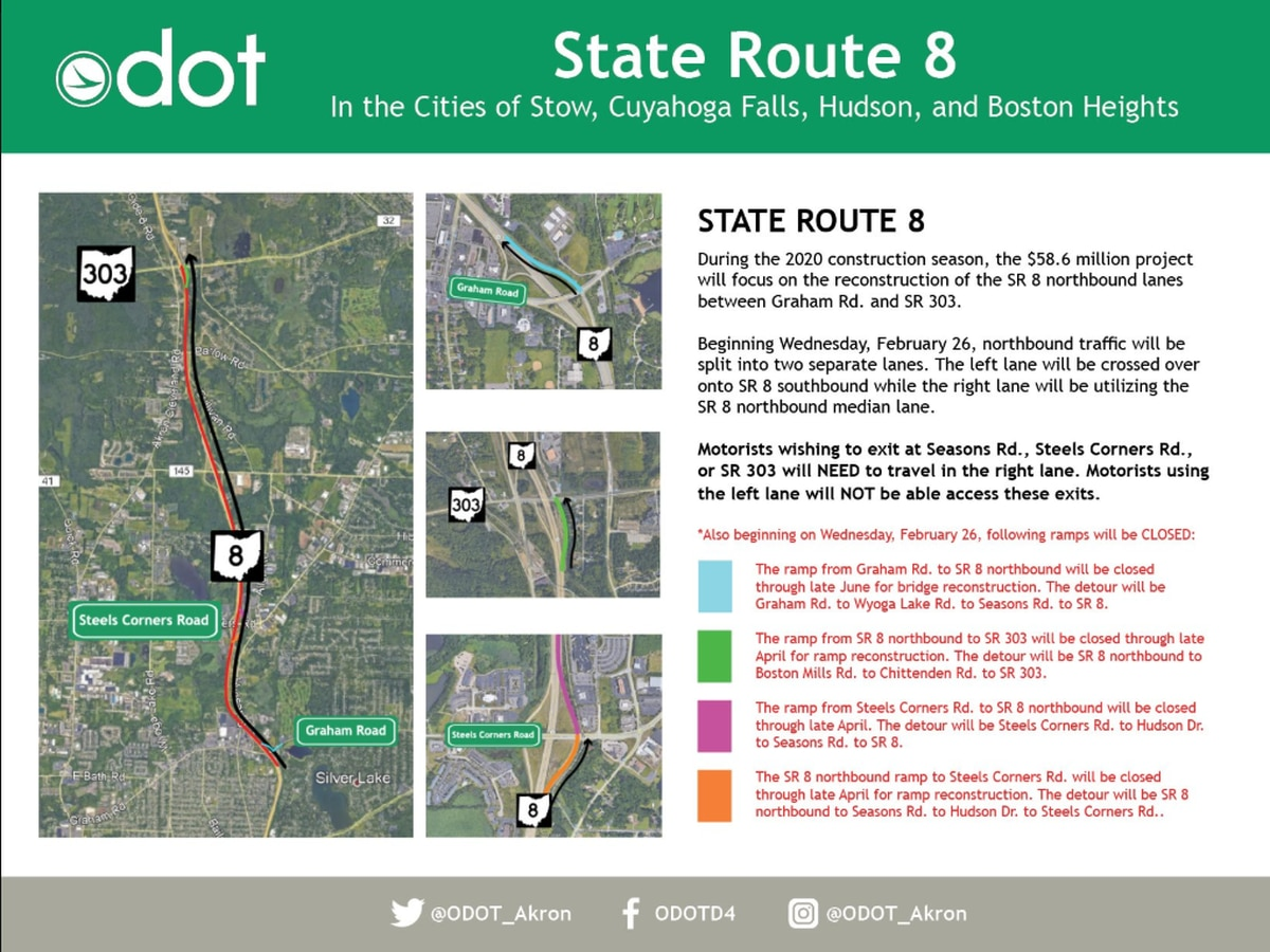 Police said ramp closures for State Route 8 North in Stow will begin March 2